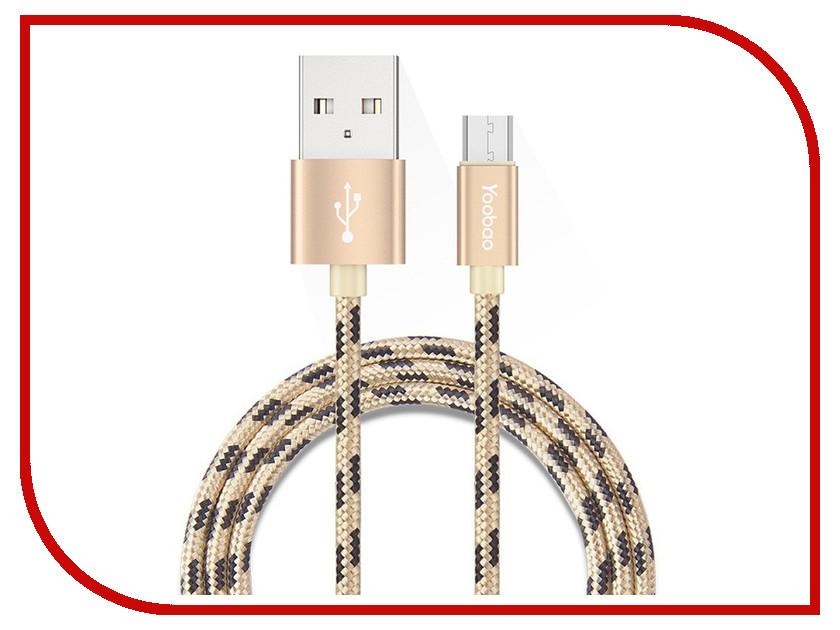 Аксессуар Yoobao USB - microUSB YB-423 Gold аксессуар yoobao usb type c microusb lightning yb 453 gold