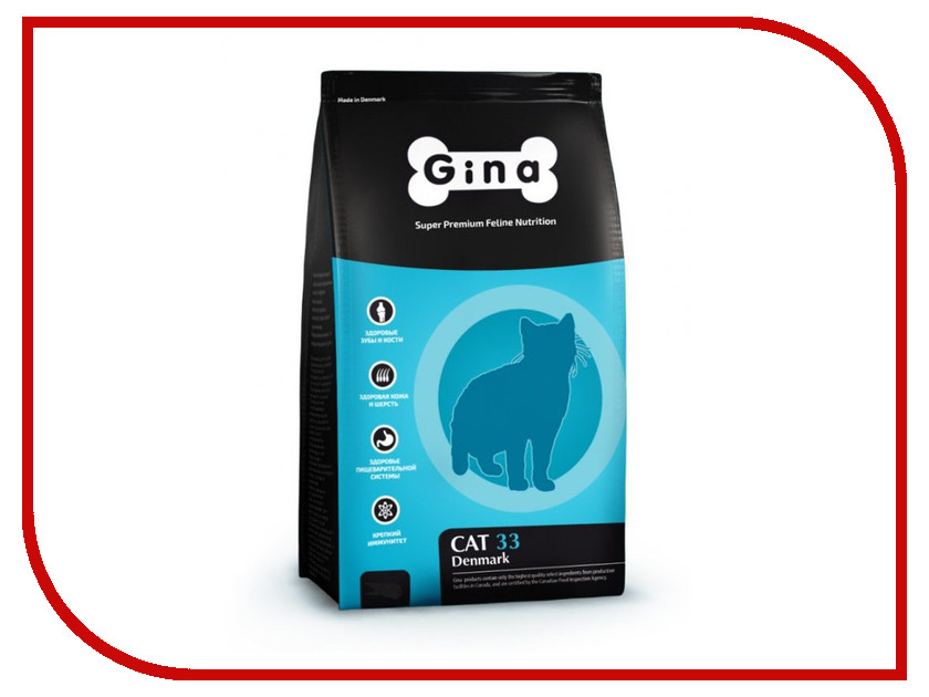 Корм Gina Cat-33 Denmark 1kg 080020.0 сухой корм gina denmark cat 33 с курицей ягненком и рисом для взрослых активных и выставочных кошек 18кг 080020 3
