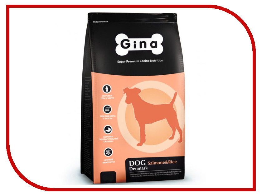 Корм Gina Dog Salmon & Rice 18kg 400116.3 сухой корм gina denmark dog salmon