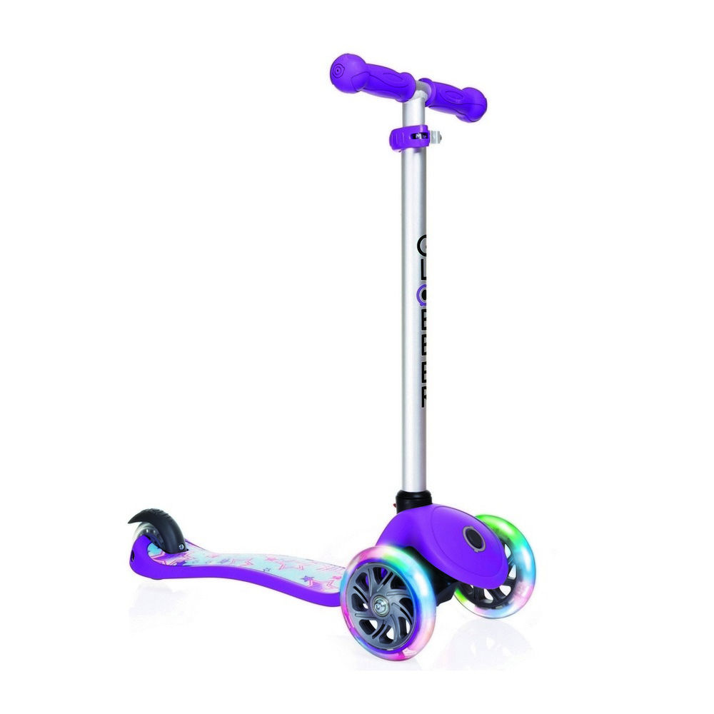 Самокат Y-Scoo Globber Primo Fantasy Stars Violet Neon Purple со светящимися колесами самокат трехколёсный y scoo globber primo plus titanium с 3 светящимися колесами neon green 442 136