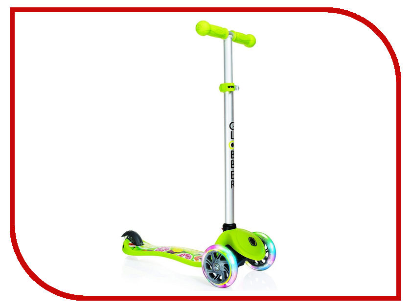 Самокат Y-SCOO Globber Primo Fantasy Fruitiness Lime Green со светящимися колесами самокат y scoo globber my too fold up 125 отзывы