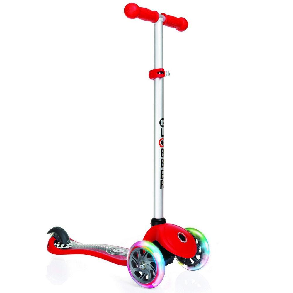 Самокат Y-Scoo Globber Primo Fantasy Racing Red со светящимися колесами самокат y scoo globber primo fantasy big flowers neon pink со светящимися колесами