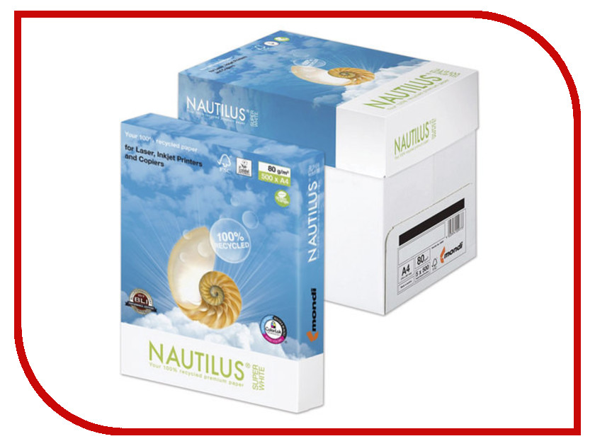 Бумага Nautilus Super White Recycled A4 80г/м2 500 листов 33196<br>
