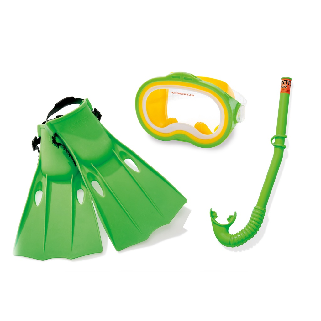 Фото - Набор маска + трубка + ласты Intex C55955 набор для плавания intex аква маска трубка цвет синий