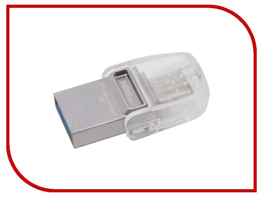 USB Flash Drive 128Gb - Kingston DataTraveler microDuo 3C DTDUO3C/128GB usb flash накопитель kingston datatraveler se9 g2 3 0 128gb silver