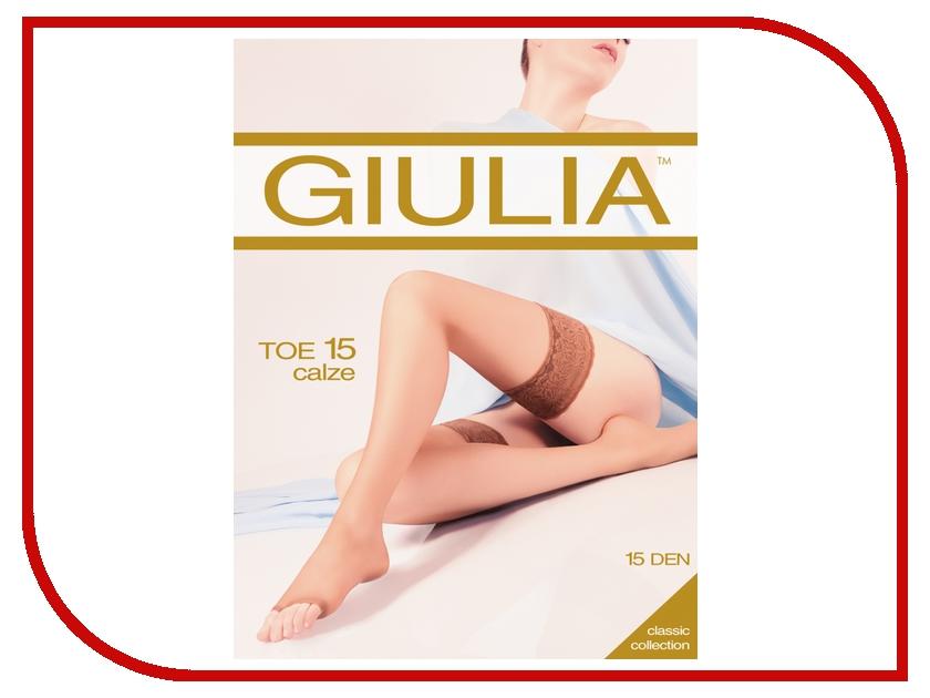 Чулки Giulia TOE размер 3/4 плотность 15 Den Nero колготки giulia колготки классика модель toe 15