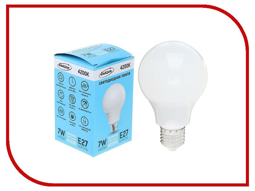 Лампочка Luazon E27 7W 4200К AL 1489120 лампочка luazon e14 3w 4200к smd2835 led 240lm 1559780