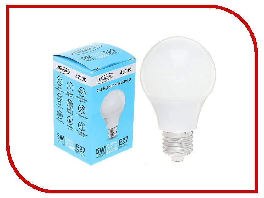 Лампочка Luazon E27 5W 4200К AL 1489119 лампочка luazon e14 3w 4200к smd2835 led 240lm 1559780