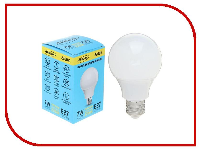 Лампочка Luazon E27 7W 2700К AL 1489116 лампочка luazon e14 3w 4200к smd2835 led 240lm 1559780