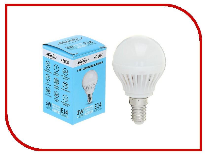 Лампочка Luazon E14 3W 4200К 1489105 лампочка luazon e27 9w 4200к al 1489121