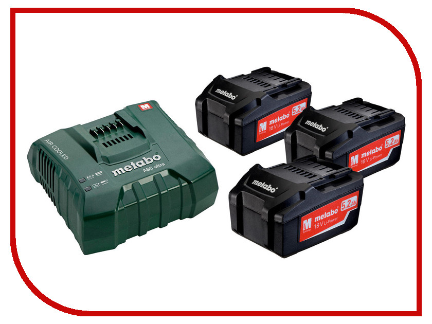 Базовый комплект Metabo 18V 3x5.2Ah + ЗУ 685061000 набор bosch ножовка gsa 18v 32 0 601 6a8 102 адаптер gaa 18v 24