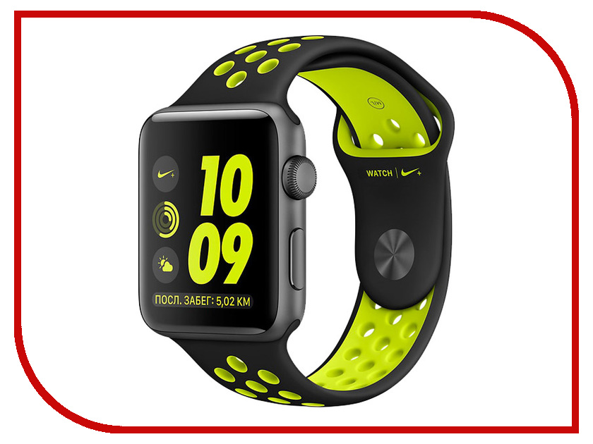 Умные часы APPLE Watch Nike+ 38mm Space Grey Aluminium Case with Black-Volt Nike Sport Band MP082RU/A