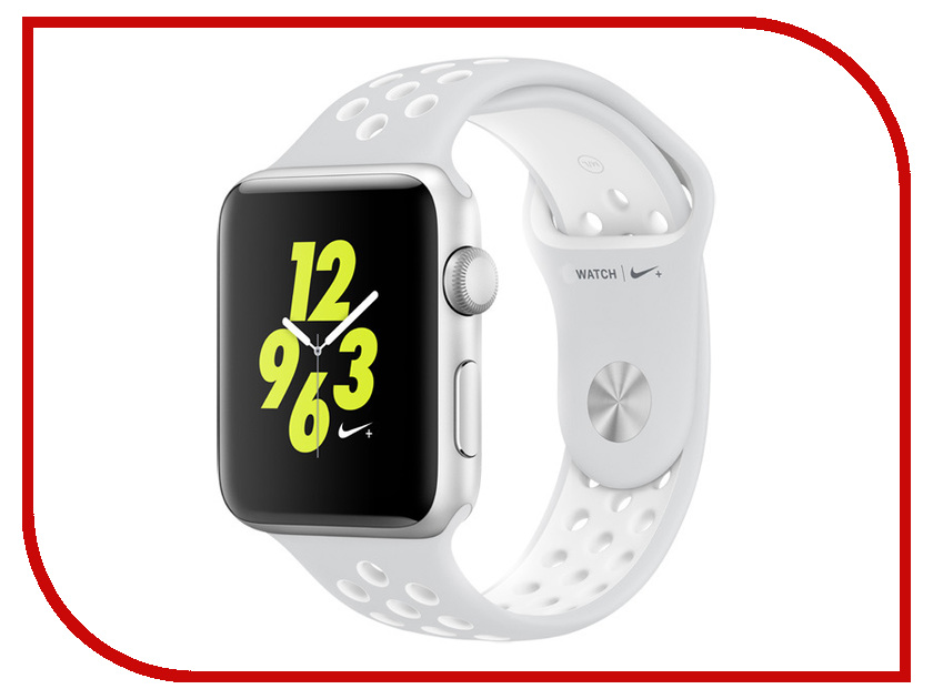 Умные часы APPLE Watch Nike+ 42mm Silver Aluminium Case with Platinum-White Nike Sport Band MQ192RU/A
