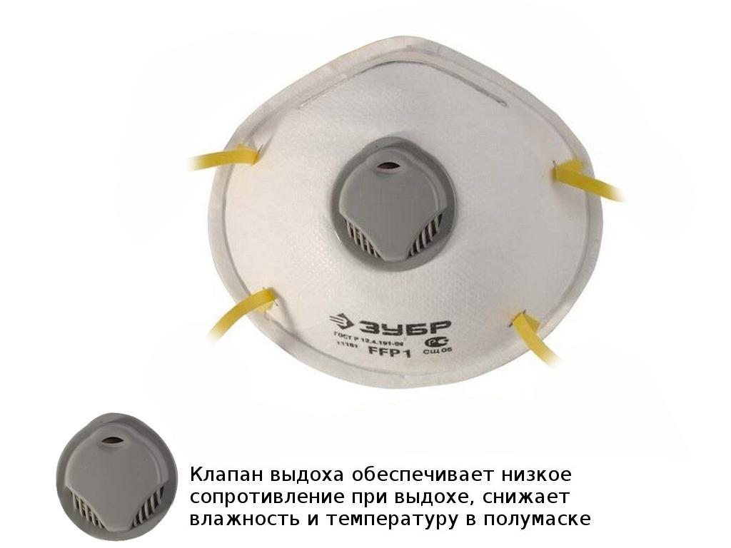 Защитная маска Зубр класс защиты FFP1 (до 4 ПДК) 11161