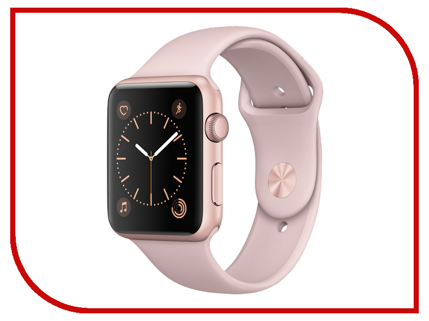 Умные часы APPLE Watch Series 2 42mm Rose Gold Aluminium Case with Pink Sand Sport Band MQ142RU/A