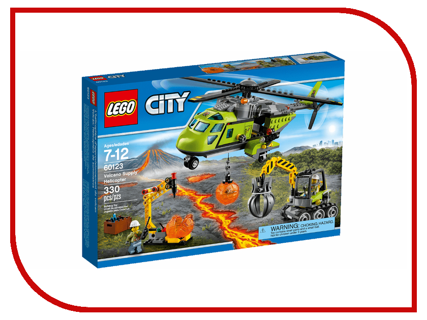 Конструктор Lego City Транспортный вертолет исследователей вулканов 60123 lego city 60123 лего сити грузовой вертолёт исследователей вулканов