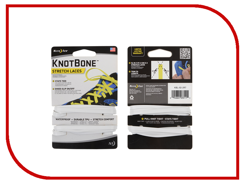 Шнурки спортивные Nite Ize KnotBone Stretch Laces White KBL-02-2R7 nite ize slidelock csla2 03 r6 blue