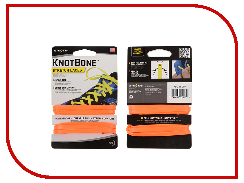 Шнурки спортивные Nite Ize KnotBone Stretch Laces Orange KBL-31-2R7 nite ize slidelock csla2 03 r6 blue