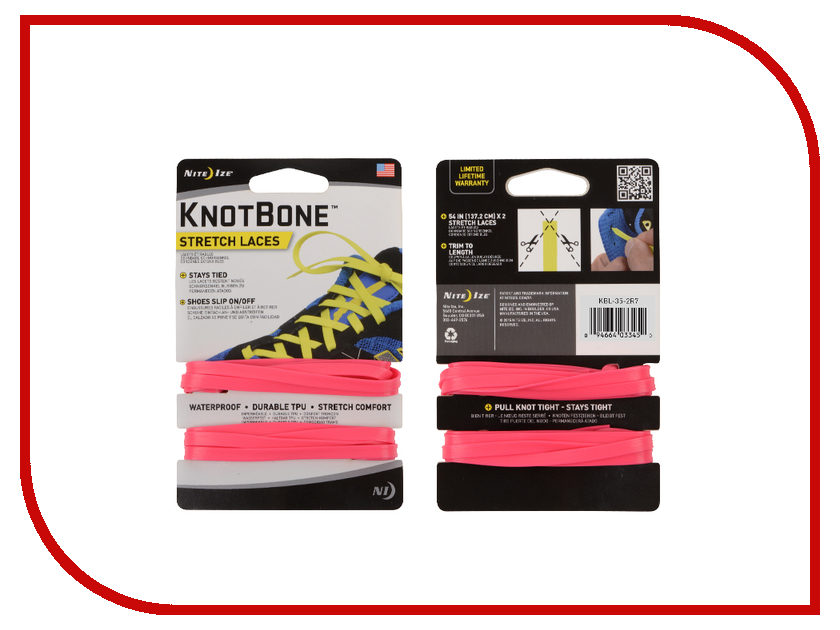 Гаджет Шнурки спортивные Nite Ize KnotBone Stretch Laces Pink KBL-35-2R7