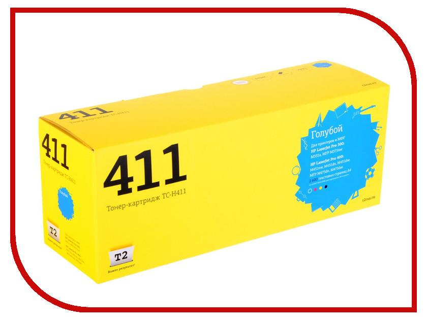 Картридж T2 TC-H411 Cyan для HP LJ Pro 300 M351a/400 M451nw с чипом картридж t2 для hp tc h85a laserjet p1102 1102w pro m1132 m1212nf m1214nfh canon i sensys lbp6000 cartrige 725 1600 стр с чипом