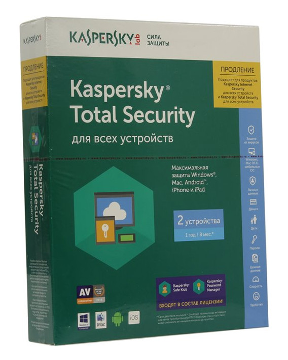 Программное обеспечение Kaspersky Total Security Multi-Device 2-Desktop 1 year KL1919RBBFR