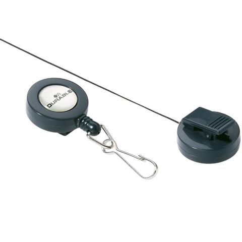 Держатель-рулетка для бейджей Durable 8221-58 Dark Grey 1шт