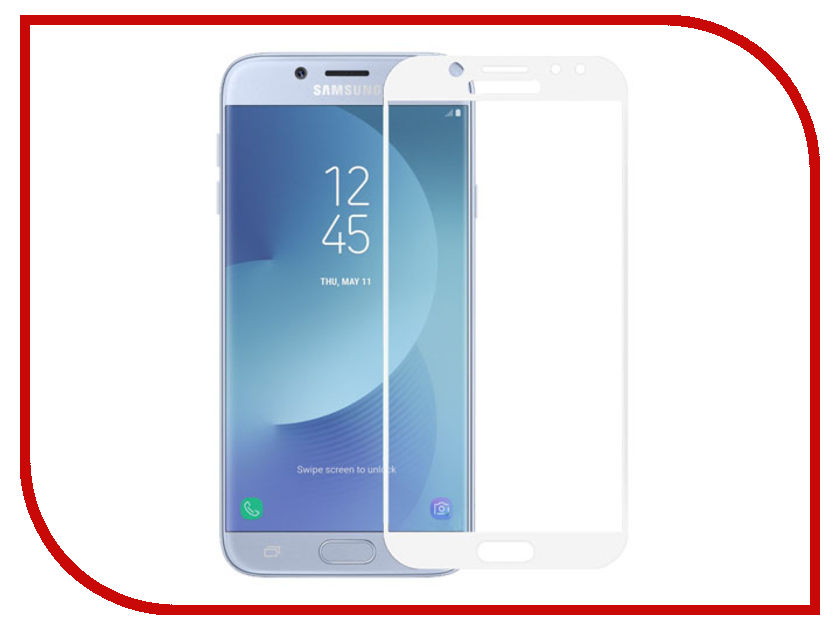 Аксессуар Закаленное стекло Samsung Galaxy J7 (2017) DF Fullscreen sColor-21 White redline для samsung galaxy j1 mini 2016 white