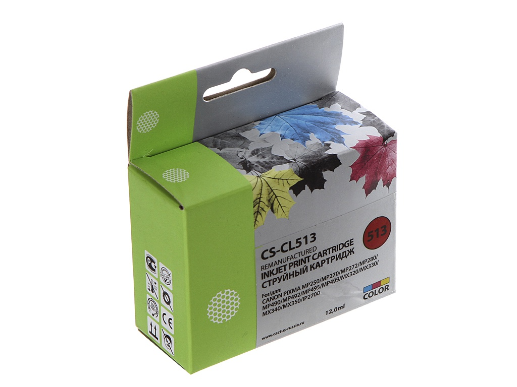 Картридж Cactus CS-CL513 Multicolor для Canon Pixma MP240/MP250 картридж cactus cs bci24bk для canon s200 s200x s300 s330 s330 photo i250 i320 i350 i450 i455 i470d i475d mp110 mp130 mp360 mp370 mp3