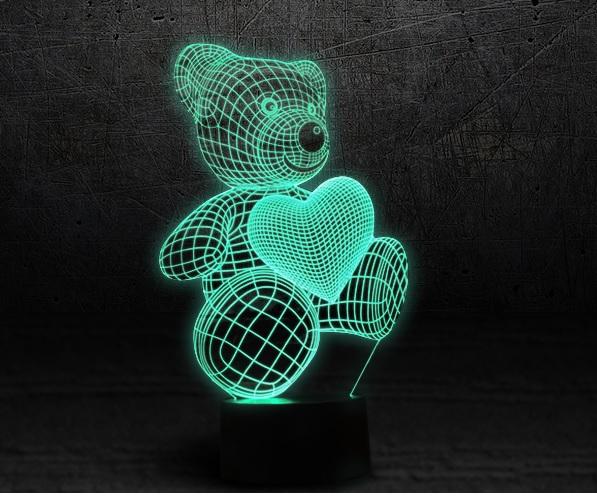 3D лампа 3d Lamp Мишка с сердцем