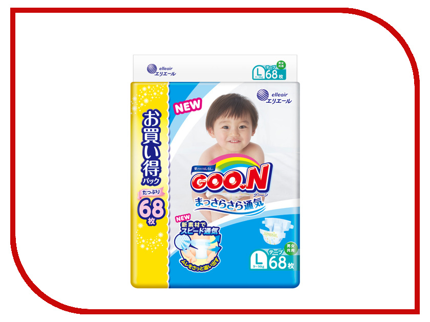 Подгузники Goo.N Ultra Jumbo Pack 9-14кг 68шт L 4902011751475 / 4902011855036