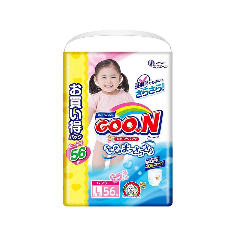 Подгузники Goo.N Ultra Jumbo Pack Трусики 9-14кг 56шт L для девочек 4902011751529 / 4902011855081