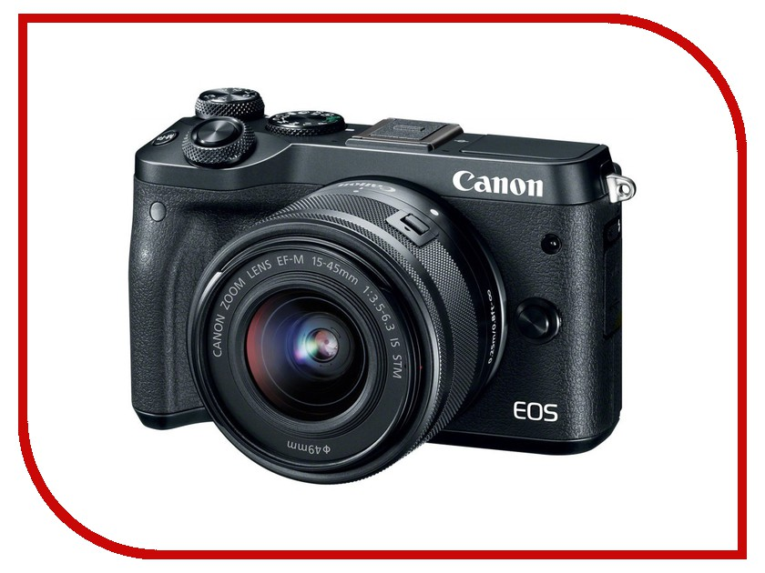 Фотоаппарат Canon EOS M6 Kit EF-M 15-45 IS STM Black зеркальный фотоаппарат canon eos 750d kit ef s 18 55mm f 3 5 5 6 is stm и ef 50mm f 1 8 stm черный