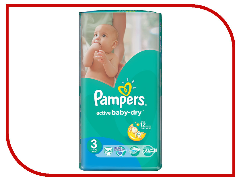 Подгузники Pampers Active Baby-Dry Midi 5-9кг 54шт 4015400649687