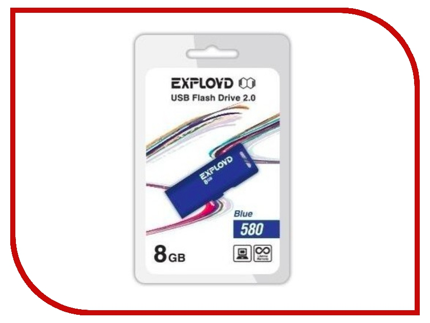 USB Flash Drive 8Gb - Exployd 580 EX-8GB-580-Blue