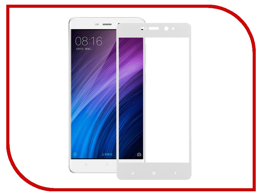 Аксессуар Закаленное стекло Xiaomi Redmi 4 Pro / 4 Prime DF Full Screen xiColor-09 White аксессуар чехол бампер xiaomi redmi pro white