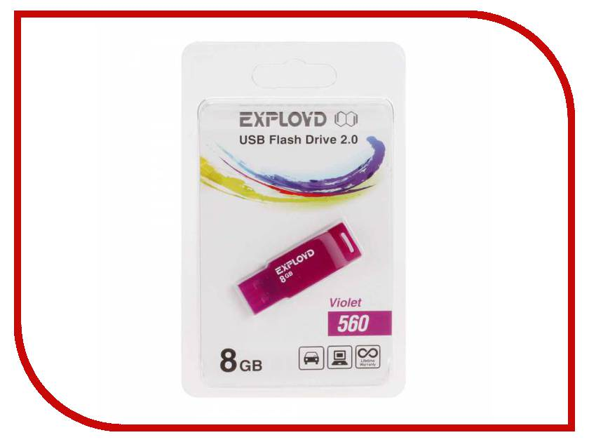 USB Flash Drive 8Gb - Exployd 560 EX-8GB-560-Violet
