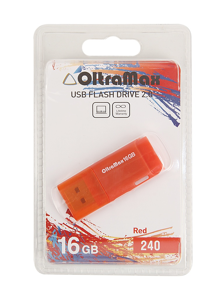 USB Flash Drive 16Gb - OltraMax 240 OM-16GB-240-Red