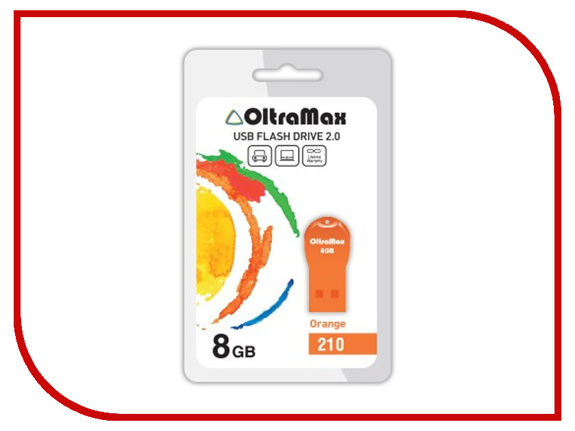 USB Flash Drive 8Gb - OltraMax 210 OM-8GB-210-Orange карта памяти microsdhc oltramax 8gb ci10