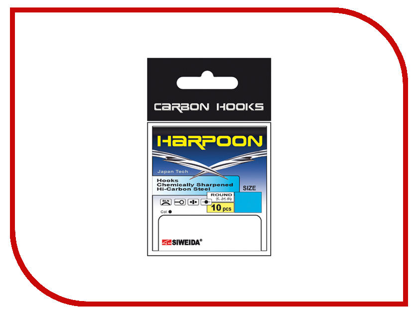 Крючки Siweida SWD Harpoon Round №6 S 10шт 3222306 удилище siweida swd maverick 3 6m im8 2411036
