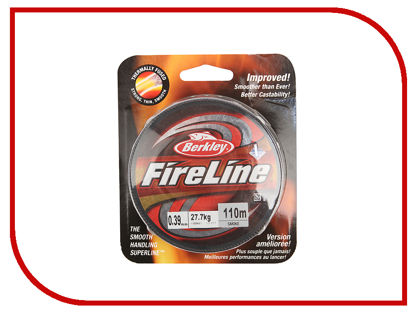 Шнур плетёный Berkley FireLine Smoke 0.39mm 110m 27.7kg Grey 1308661