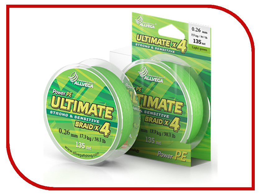 Шнур плетёный Allvega Ultimate 0.26mm 135m 17.3kg Light Green U135LGR026