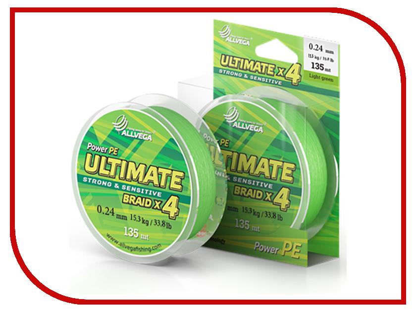 Шнур плетёный Allvega Ultimate 0.24mm 135m 15.3kg Light Green U135LGR024