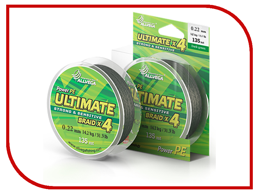 Шнур плетёный Allvega Ultimate 0.22mm 135m 14.2kg Dark Green U135DGR022