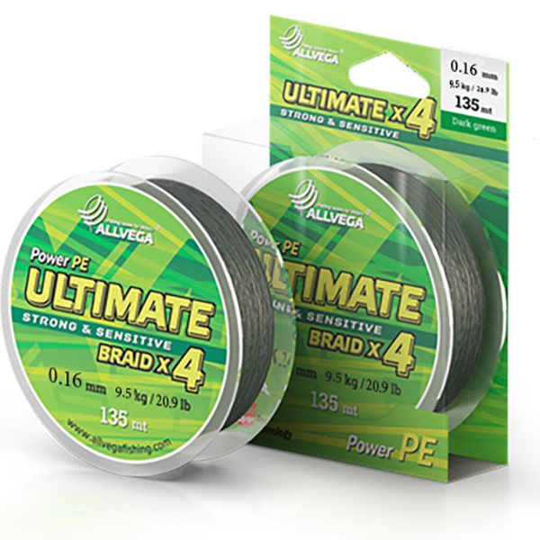 Леска Allvega Ultimate 0.16mm 135m 9.5kg Dark Green U135DGR016