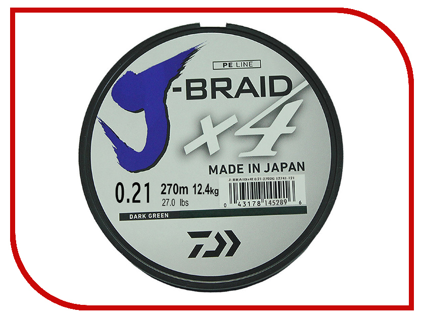 Шнур плетёный Daiwa J-Braid X4 0.21mm 270m Green 12741-121RU