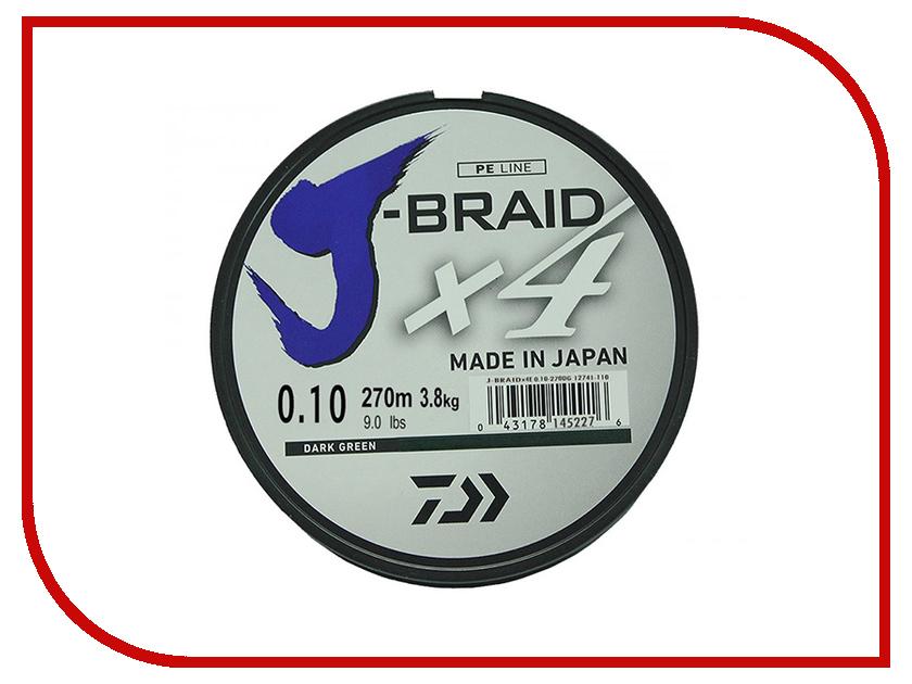 Шнур плетёный Daiwa J-Braid X4 0.10mm 270m Green 12741-110RU