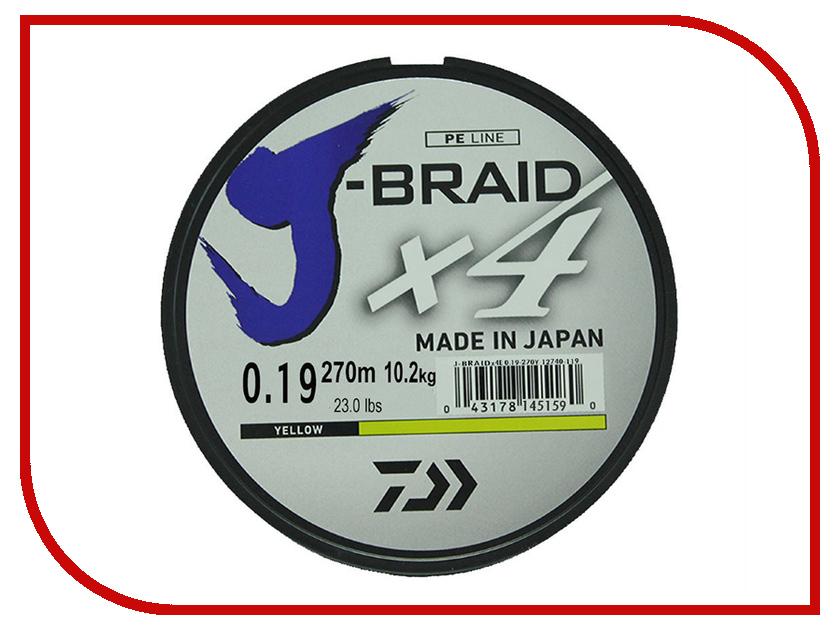 Шнур плетёный Daiwa J-Braid X4 0.19mm 270m Yellow 12740-119RU