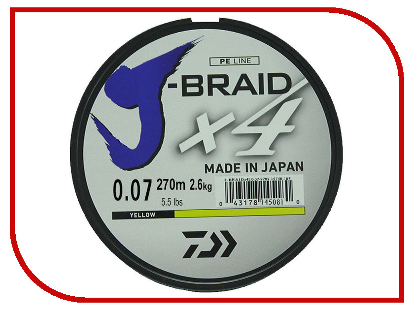 Шнур плетёный Daiwa J-Braid X4 0.07mm 270m Yellow 12740-107RU