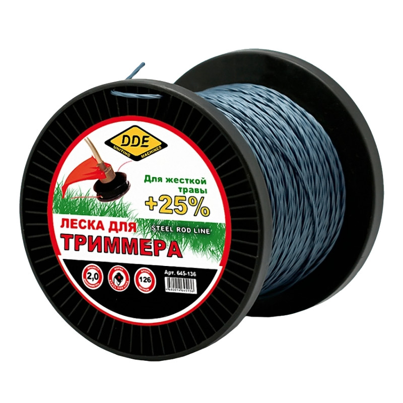 Леска для триммера DDE Steel Rod Line 2.0mm x 126m Light Blue-Red 645-136