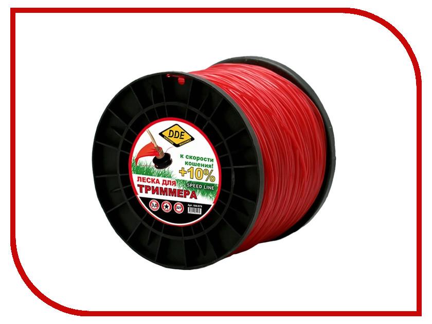 Аксессуар Леска для триммера DDE Speed Line 3.0mm x 222m Red 644-979 аксессуар леска для триммера dde classic line 2 0mm x 15m yellow 644 719